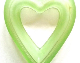 Vintage green frosted glass love heart decor home valentine valentines day romance glassware