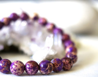 Natural Purple Sea Sediment Jasper Bracelet Natural Stones