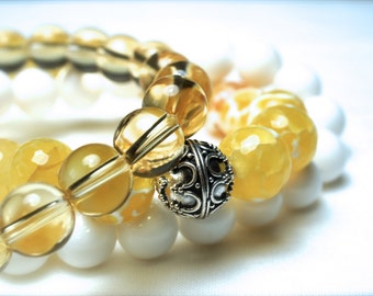 Summer Bracelet Set . Yellow Crackle Faceted Agate . Citrine . White Coral . Natural Stone  . Ready to ship