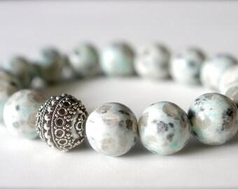Natural Dalmation Jasper Bracelet . Natural Stone Bracelet . Sterling Silver Bali Focal Bead