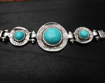 Southwestern Style Vintage Swirl Turquoise Bracelet