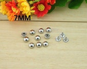 100pcs 7mm Silver Round Studs Mushrooms Rivet buttons For Punk Bag Shoes and Cloth DIY Accessories,Cellpone accessories