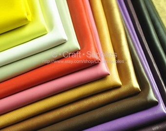 Faux Leather Fabric in NAPPA Grain Pattern,Hundreds Colours PU Leather For DIY Accessories - Half Yard