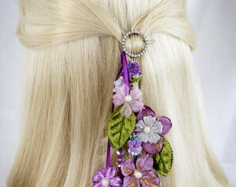 SALE 25% Off, Purple Bridal Hair Clip/Fascinator, Wedding Headpiece, Bridal Hair Flower,Fascinator Hair Clip, Bridesmaid, Pearl