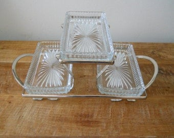 Silver Two-Tier Glass Relish Tray
