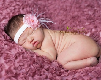 Pink flower headband, pink with feathers headband, newborn headband