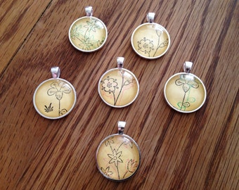One Inch Glass Domed Pendants