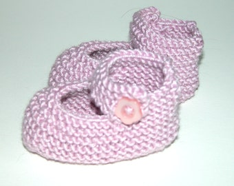 Hand Knitted Cotton Baby Booties  ( Mary Jane)