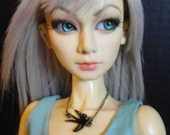 Doll Necklace - Fly Away Bird black swallow - for BJD ball joint dolls, SD, MSD, American Model, Dollfie Dream, Obitsu