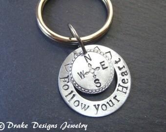 Compass Keychain Follow your heart key chain