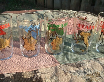 Set of 5 Glasses - America, France, Germany, Italy, England