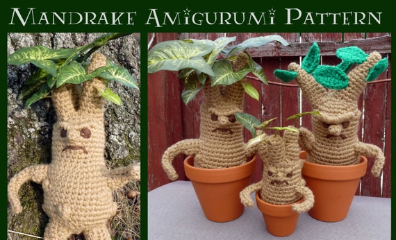 Amigurumi Mandrake : Items similar to Crochet Pattern: Mandrake and Mini ...
