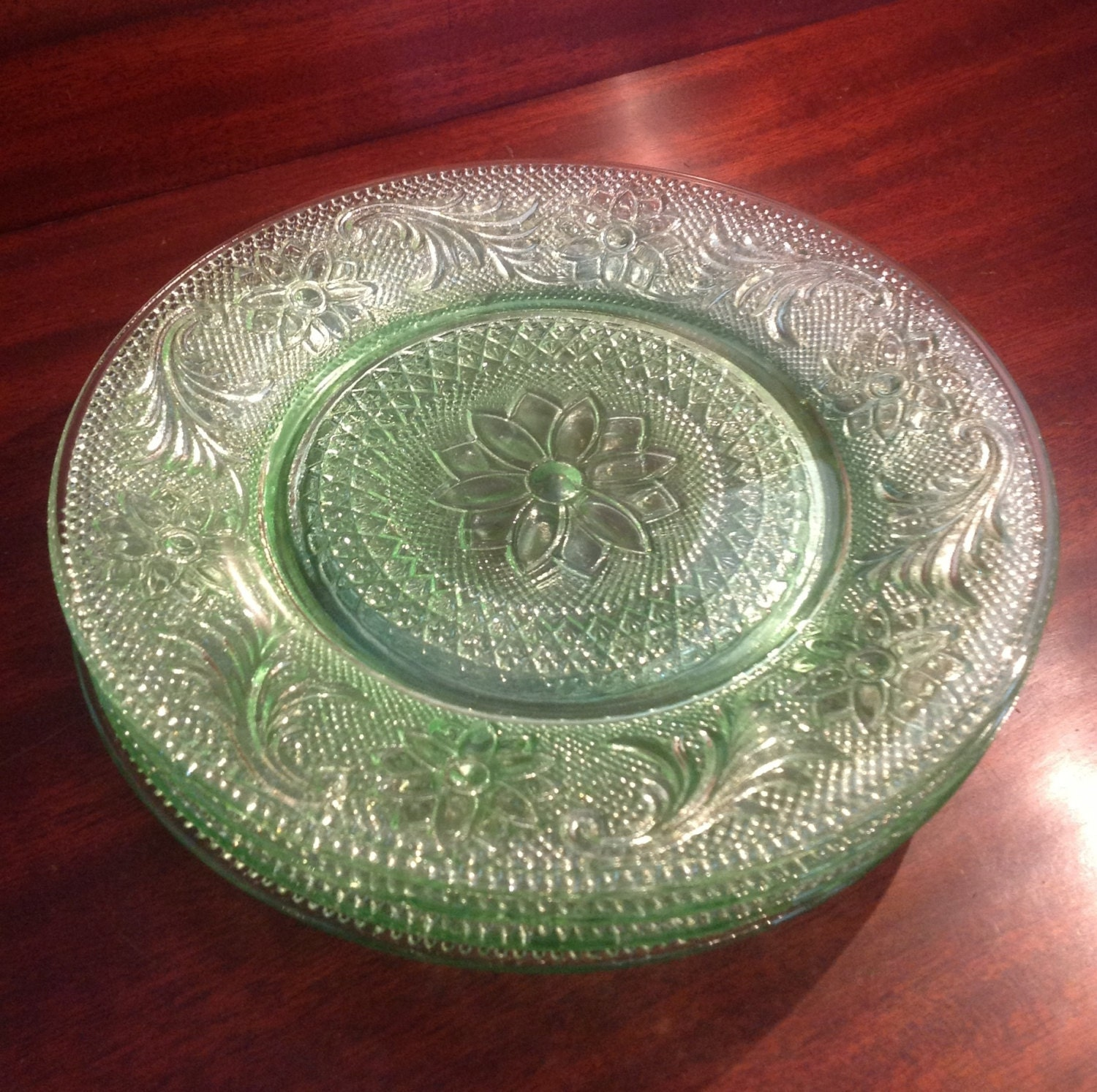 Tiara Chantilly Green Sandwich Glass Salad By Margueriteswoodshed
