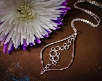 Large Leaf Necklace with Bubbles -  Statement Necklace, Teardrop Necklace, Silver Pendant