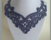 Lavender Lace Bib Statement Necklace New Style - 16 inch