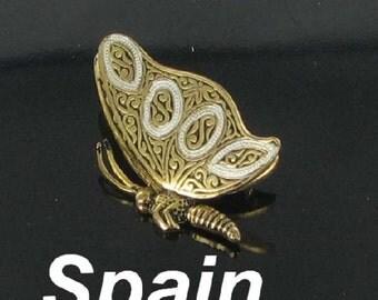 Spain 3 D Damascene Butterfly Figural Brooch Pin Vintage broach bug jewelry