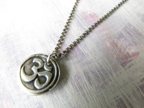 Om Charm Necklace /// Wax Seal Stamp  18 Inch Sterling Rolo Chain