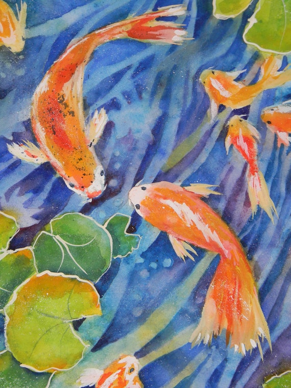 Items similar to original koi fish pond watercolor by for Sally t fishing