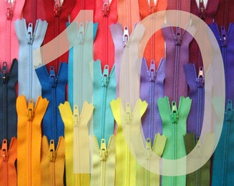 10 Inch YKK Zippers - 25 Pieces - Choose Your Colors