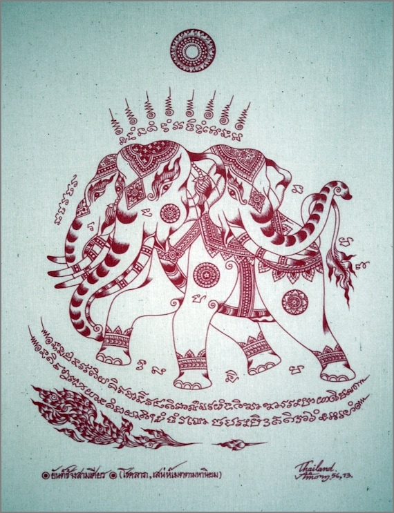 Thai traditional art of Erawan by silkscreen printing on Natural colors cloth (Red)