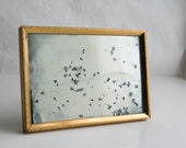 Hand Silvered Glass Mirror, Square Antiqued Silver Mirror, Vanity Mirror, Desk MIrror, Hand Antiqued Mirror