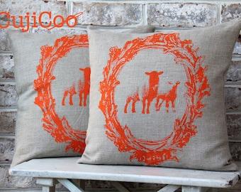 Scatter Pillow Cover - Linen Pillow Cover - Sheep Pillow Cover - Throw Pillow Cover - Hand Printed Pillow Cover - 18''x18'' Pillow cover