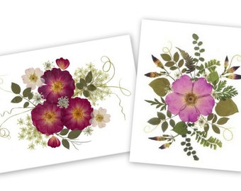 Roses - Set of 6 Pressed Flower Cards  - 3 of each card - #069