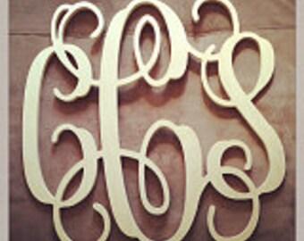 "24"" INCH Large 3 Wooden Vine Connected Monogram Letter, Unfinished,Unpainted, wedding decor monogram"