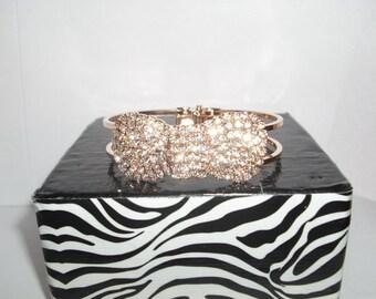 Crystal bow bangle hinged bracelet