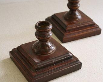 Vintage Wooden Hardwood  Candle Holders