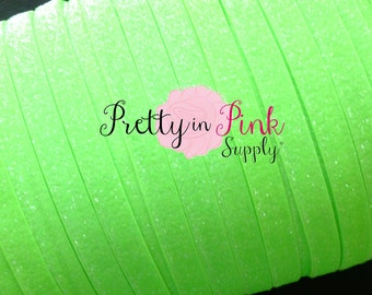 """5/8"""" FROSTED Neon Green Glitter Elastic..Elastic By the Yard..Glitter Elastic..Neon Green Elastic Glitter..Green Elastic"""