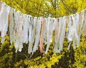 Anthropologie Inspired Wedding Garland, Shabby Chic, Bridal, Backdrop, Fabric Garland, Window,distressed, Rustic Garland, Vintage,