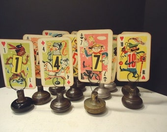OOAK Table Numbers, Vintage Playing Cards, Vintage Wedding Decor