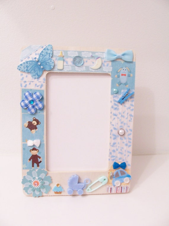 Blue Baby Boy Decorative Wooden Frame Baby Shower Gift
