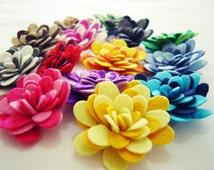 Felt Flowers - Two Color  Rolled Mum -Set-10 Pieces - Felt Die Cut Flowers