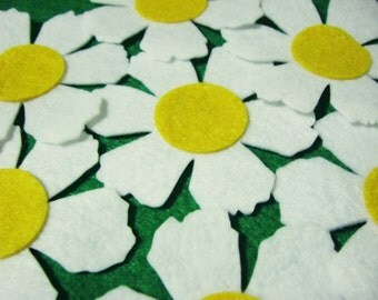 Felt Flowers, 15  Pieces, Felt Daisy Flowers III,  White, Yellow, Felt Die Cut Flowers