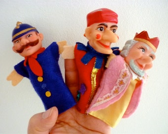 Vintage Finger Puppets / Colorful Punch, King and Policeman / Kasperl / A Lot of Three (3)