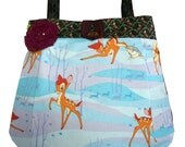 Bambi Deer Winter Scene Cotton Handbag Bag Handmade in the UK Babushka Doll