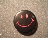 "1 3/4"" Vintage Pinback Button // Badge // Smiley Face // Neon"