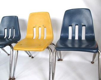 Vintage 1950 Virco Child Chairs Blue & Yellow