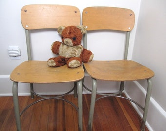 "Vintage School Wood and Metal Chair 15"" Seat Height"