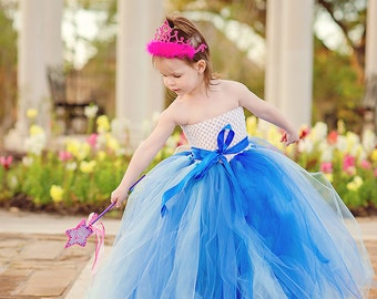 Something Blue flower girl tutu dress in various shades of blue, finished with a blue sash