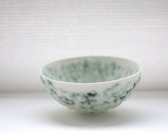 Stoneware bowl from English fine bone china with a unique textured surface and a hint of green. ring dish