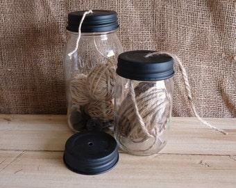 Mason Jar Lids with holes, Mason jar Crafts, Galvanized mason lid, Rusty lids, drilled mason lids