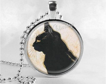 BLACK CAT Pendant Necklace, Black Cat Jewelry, Black Cat Art, Gift For Cat Lovers