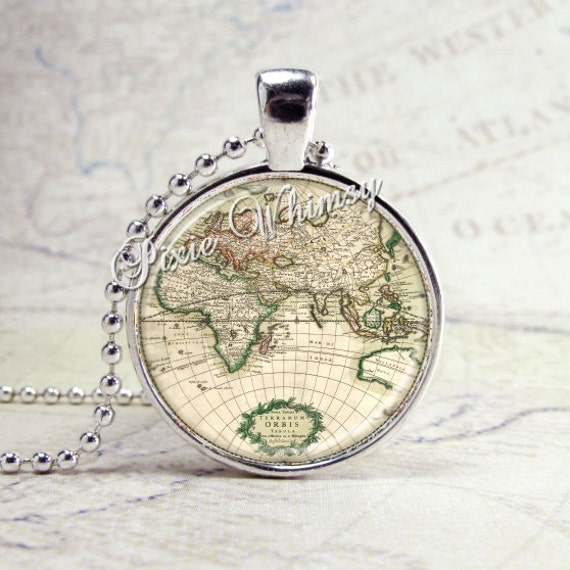 WORLD MAP Necklace Map Necklace Map Jewelry Map by PixieWhimsy