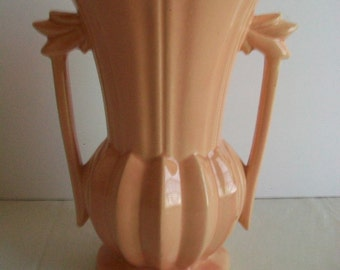 """Vintage McCoy Pottery 9"""" vase with Double handle, peach color, circa 1940s REDUCED"""