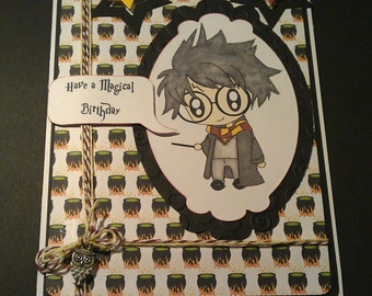 Harry Potter Card, Hogwarts Card, Personalised Harry Potter, Harry Potter, Gryffindor Card, Hermoine Card, Owl charm on card.