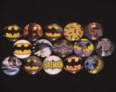 15 Bat Hero Flatback or Pinback buttons 1 inch