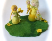 Wet Felted Spring-Summer scene.Family.Hand-felted.Doll. Waldorf.